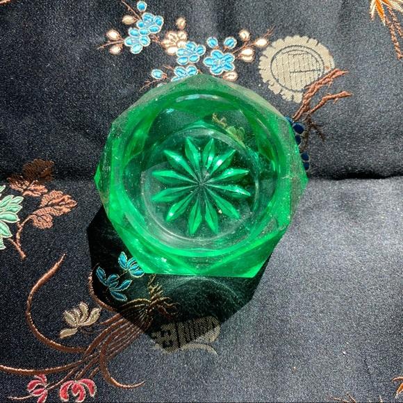 Adorable vintage emerald glass crystal mini tray